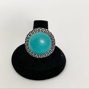 Turquoise Silver Boho Fashion Ring #10